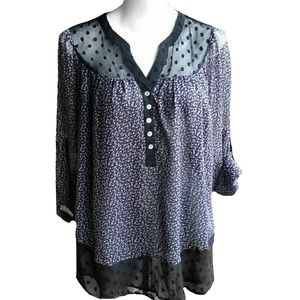 BLACK RAINN Purple and Black Print Blouse XL EUC